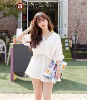 1543B YouAxon Ladies Plus Size Loose White Sexy Cotton Crochet Female Retro Vintage Short Mini Tunic Dresses For Women a+ Dress