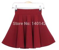 2014 New Style Women's Vantage Solid Color Pleated Mini Skirt Cotton Elegant Elastic High Waist Skater Skirt