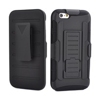 """Rugged Impact Shockproof Belt Clip Holster Shell Case Cover for iPhone 6 Plus 5.5"""" Combo Kickstand Heavy Duty Black Phone Cases"""