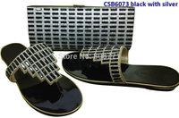 3cm flat shoes fashion women's sandal matching  bag  CSB6073 silve/black/gold
