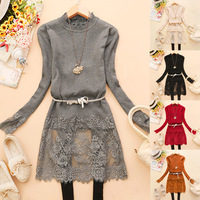 Free shipping 2014 New Beautiful Lace Patchwork O-Neck Long Sleeve Long Sweater Women Fashion Bottoming Knitted Sweaters