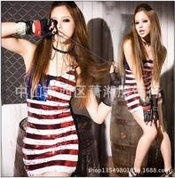 1 piece Fashion punk sexy nightclub Women's Dresses Sexy USA Flag Singer Dancers Sequins Clothing Girl's Mini dress