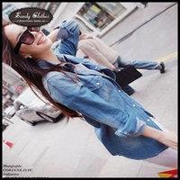 2015 Hot-selling Women's Fashion Denim Jacket Gradient Color Long-sleeve Denim Shirt High Quality Women Denim Jacket Autumn