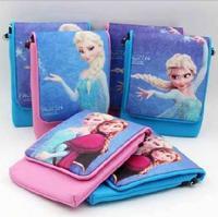 New frozen Cartoon Messenger phone bag pu leather Double layer shoulder bag 5.5 inch mobile phone bag Wallet purse bg0279