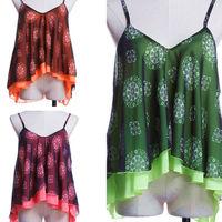2015 Tropical Blouse Shirt Chiffon Flower Print Summer Women Clothing Double Layer Sexy Roupas Blusas Femininas Casual Women Top