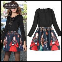 Women Dresses Autumn and Winter New Fashion Beauty Elegant Patchwork Pattern Women's Dresses long-sleeves Basic One-piece dress