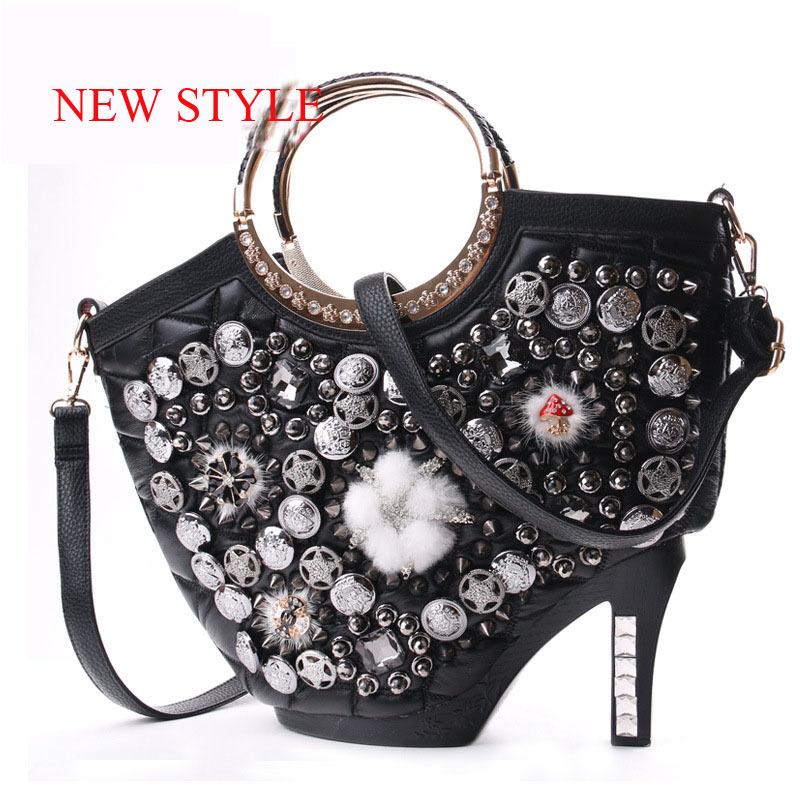 2015 South Korea Women Leather Bag Women Messenger Bags Design Rivet High Heels Women's Shoulder Tote Bag Textile Handbags B680(China (Mainland))