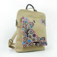 Women's Flower Print National Zipper Canvas Backpack Fashion Casual Handbag Schoolbags