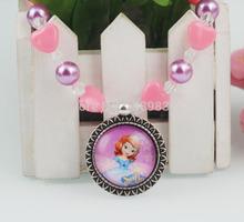 Princess Sofia heart shape beads chunky necklace Purple pearl beaded Sofia the first jewelry gift 2pcs/lot Free shipping