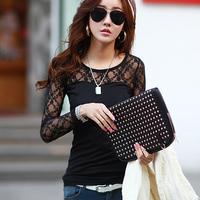 Fashion sexy Women Lace shirt female knitted top long-sleeve t-shirt 2015 slim modal basic shirt