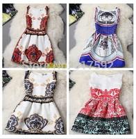 2015 spring  winter Autumn new Korean women prom section of small fragrant wind jacquard fabric printing sleeveless vest dress