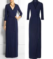 Top Quality!New Fashion 2015 Spring Long Dress Women V-Neck 3/4 Sleeve Floor Length Cotton Maxi Dress Elegant Evening Dress Blue