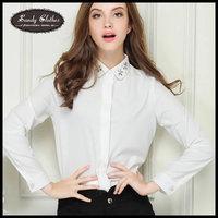 2015 Fashion Women Shirts Autumn White Shirt Long-sleeve Slim Professional Women Shirt Blouses Autumn High Quality Fashion Shirt