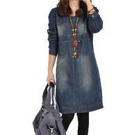 2014 women autumn casual plus size clothing long-sleeve dress vintage denim one-piece  shirt dress ,UO1112