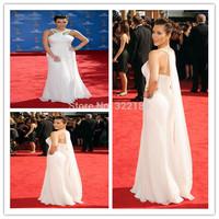 Wholesale  On Sale Sexy Kim Kardashian Red Carpet Evening Dress Emmy Awards Long White One Shoulder Celebrity Dresses