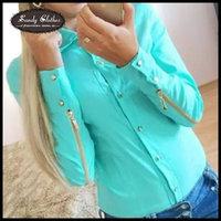 Women shirt autumn long-sleeve fashion rivet buttons sleeves zipper women's shirt  women fashion casual in women's solid shirt