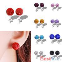 1Pairs 2015 New Fashion Shamballa Stud Earrings with 10MM Shamballa Crystal Beads Silver Plated Colorful Balls 32974