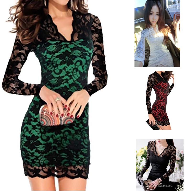 Fashion Women Sexy Long Sleeve Evening Party Dree Lace Mini Dress Clubwear(China (Mainland))