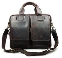 Brand Vintage Designer 100% Genuine Crazy Horse Leather Cowhide Men Handbag Shoulder Messenger Laptop Bag Bags Briefcase For Men