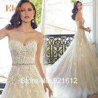 2015 Hot In Stock Fashionable Sexy Luxury  Lace Train Gown Bride Vintage Tube Top Romantic Vestido De Noiva  Wedding Dress WDF28