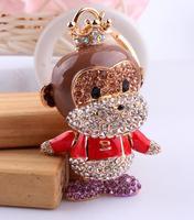 Cool Monkey Hee fine jewelry creative car keychain creative Men Women Korean imports diamond covered buttons