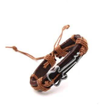 Античный натуральная кожа браслеты полые гитары браслет для мужчин браслеты браслеты ...