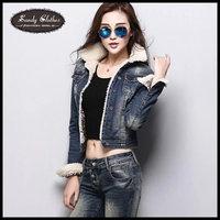 Women jackets winter coat  plus velvet denim warm outerwear women's long-sleeve jacket design short cotton-padded jacket outwear