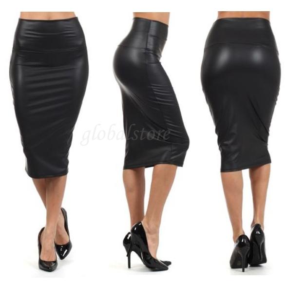 black below knee high waist skirt stretch