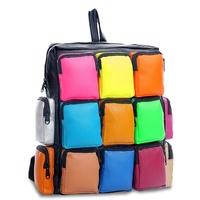 Multi Pocket Joint PU Contrast Color Backpacks Women Girls Travel School College Bag Mochila Feminina