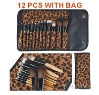 hot 12 PCS Pro Makeup Brush With Holder Bag  Set Cosmetic Tool Leopard Bag Beauty Brushes 2014 XM050