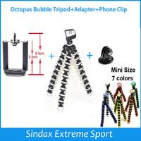 Mini Flexible Camera Tripod Octopus Bubble Tripod + Adapter for  Go Pro Hero 4 3+ 3 2 HD SJ4000 Camera Accessories + Phone clip