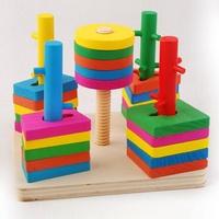 Five Pillar Geometric Topping-on Blocks Intelligence Game Wooden Educational Toy for Kids Children