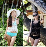 2014 selling hand made swimsuit crochet lace beachwear swimwear bat sleeve loose knit vest beach wear