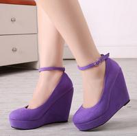 women pumps wedges shoes Spring brief shallow mouth high-heeled belt button women's wedges platform shoes high heels