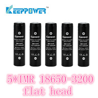 free shipping 5 pcs KeepPower IMR flat head 3200mah protected 18650 rechargeable  battery  li ion 3.7v for flashlight headlamp