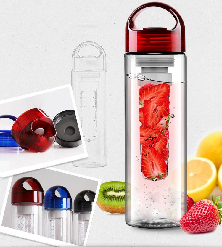 2015 Tritan Plastic Cup Water Bottle Transparent Bottle Creative Fruit Kettle Lemon Bottle Outside Sport 700ml Clear Fruit Cup(China (Mainland))