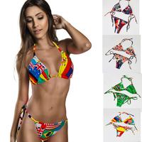 Yomsong Sexy Bikini Sets Floral Printing Biquini Ladies Swimwear 2015 Women Full Cup 4 Color Biquini Triangl Bikini US Size 2-12