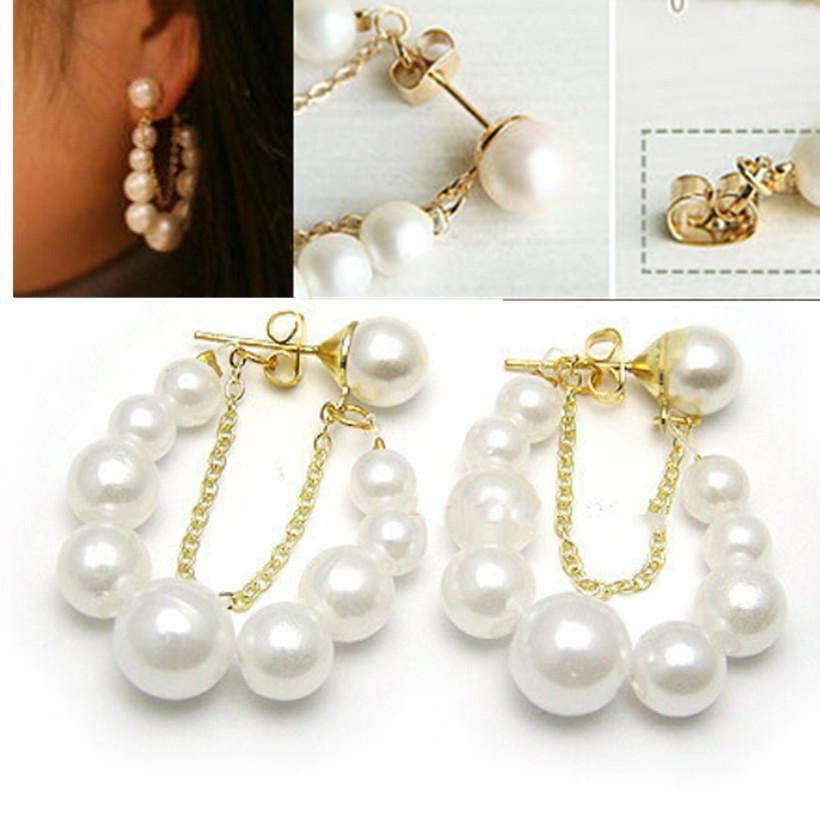 New 2015 Women Korean Fashion Jewelry White Pearl Earrings Ear Stud Earrings