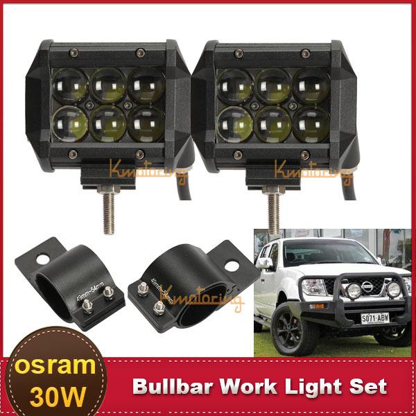 Hyperspot 4'' 30W OSRAM LED Work Light Bar 4X4 4WD ATV UTE SUV Offroad 12V 24V Driving Headlight + 49~54mm Bullbar Mount Bracket(China (Mainland))