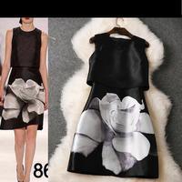 2015 new vestidos de festa desigual black women spring summer dress European and American expensive printed o-neck vest dress