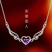 Free shipping 990 sterling silver necklace female angel love