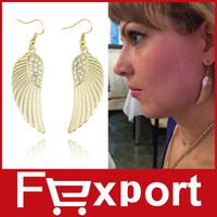 Women's Hot New Fashion Rhinestone Angel Wings Earrings Silver Gold 475
