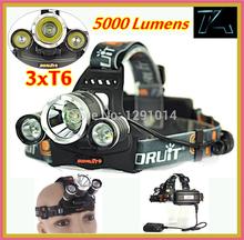 Linterna 5000 T6 lámpara lúmenes Head 3 LED Linterna antorcha cabeza linterna edc paquete 18650 batería recargable LED Faro frontal(China (Mainland))