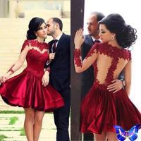 vestido de renda curto New 2015 Women Clothes Red Velvet Patchwork Voile Lace Crochet Dress Sexy Hot Sale vestidos de mujer