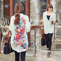 2014 Summer New Fashion Vintage Women Flower Print Turn-Down Collar Blouses Chiffon Long Shirts With Button, White, S, M, L, XL