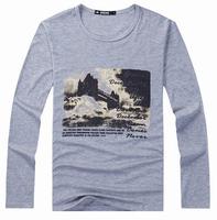 Wholesale Hot 2014 New Korean Version of Casual Fashion Printed Men's Slim Sports Long-sleeved T-shirt