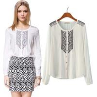 2015 Hitz European and American classic retro decoration printing round neck cotton embroidered shirt female 8028