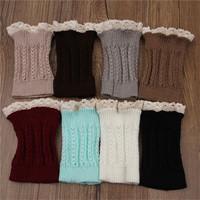 Women Girls Winter Leg Warmers Down Boot Cuffs Lace Trim Gaiters Boot Socks Crochet Leg Warmers Short Knit Leg Warmers KH852511