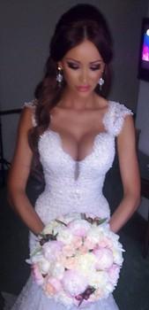 2014 последние белый / слоновая кость свадебные платья novia кисть поезд свадебное платье кружева аппликации русалка свадебные платья 2015 клиент сделал