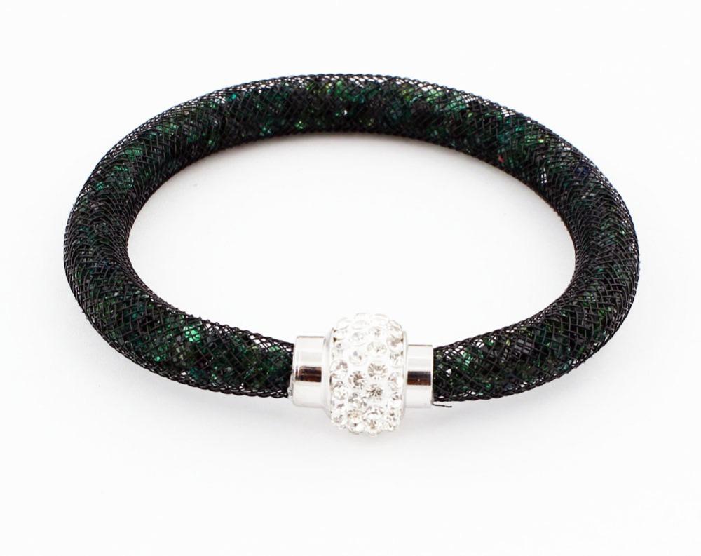 Free Shipping 13 Colors Stardust Mesh Bracelet Tiny Crystal Magnetic Wrap Bangle Wristband Shambhala Magetic Fashion Bracelet(China (Mainland))